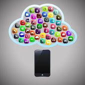 Smart phone cloud — Stock Vector