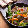 Stock Photo: Beef fajitin pan