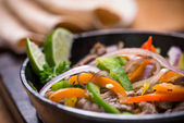 Beef fajita in the pan — Stock Photo