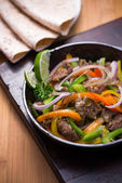 Beef fajita in the pan — Stok fotoğraf