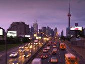 Toronto skyline at rush hour — Stock Photo