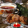 Christmas tea with cookies — Stock Photo
