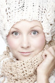 Young woman in scarf and hat — Stock Photo