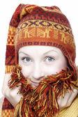 Frau in ethnische hut — Stockfoto