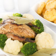 Roast Dinner - Roast Partridge & Vegetables - Stock Photo