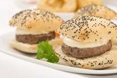 Mini Cheeseburgers — Stock Photo