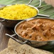 Butter Chicken and Lemon Rice — Stock Photo