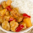 Sweet and Sour Chicken and Rice — Stockfoto