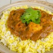 Chicken Bhuna and Bicolour Pilau Rice - Stock Photo