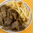 Donner Meat and Chips - Stock Photo