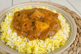 Chicken Bhuna & Bicolour Pilau Rice — Stock Photo
