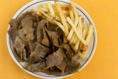 Donner Meat and Chips — Stock Photo