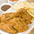 Fried Chicken & Chips — Stock Photo