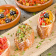 Tapas on Crusty Bread  — Stock Photo