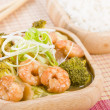 Prawns with Ginger and Spring Onion — Stock Photo