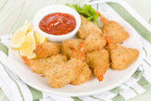 Breaded Butterfly Prawns — Stock Photo