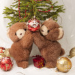 New Year greeting card with teddy bear . — Stock Photo