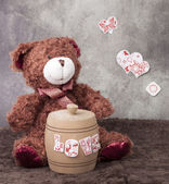 Composition for Valentine's Day with a toy bear. — Stock Photo