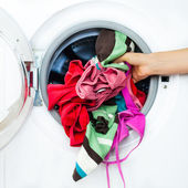 Houswork: Detail of a Female Doing Laundry — Foto Stock