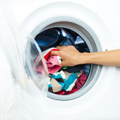 Houswork: Detail of a Female Doing Laundry — Stock Photo
