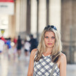 Beautiful Girl Is Waiting at the Railway Terminal — Stock Photo