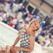 Beautiful Young Woman Is Posing By Fontana di Trevi (color toned — Stock Photo