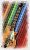 Watercolor painted guitar — Stock Photo