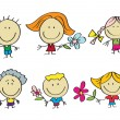 Kids with flowers — Stock Vector #15635909