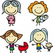 Mothers and kids - Stock Vector