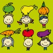 Kids and vegetables - Stock Vector