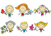 Kids with flowers — Stock Vector