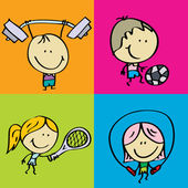 Sport children — Stock Vector