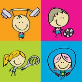 Sport children — Stock Vector