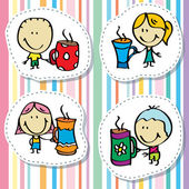 Kids with mugs — Stockvector