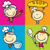Children and food — Stock Vector