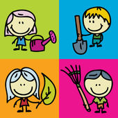 KIds and tools — Stock Vector