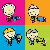 Děti a hračky — Stock vektor