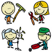 KIds with tools — Stock Vector