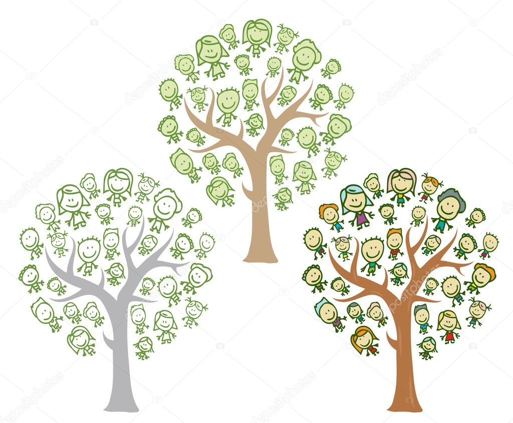 Trees of family with kids  Stock Vector #15636115