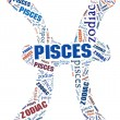 Textcloud: silhouette of pisces — Stock Photo #15640401