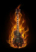 Guitar in fire — Stock Photo