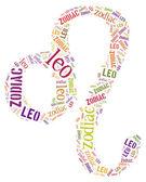 Textcloud: silhouette of leo — Stock Photo