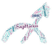 Textcloud: silhouette of sagittarius — Stock Photo