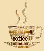 Wordcloud coffee cup — Stock Photo