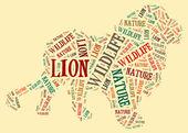 Lion wordcloud — Stock Photo