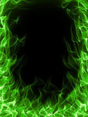 Green fire frame — Foto Stock