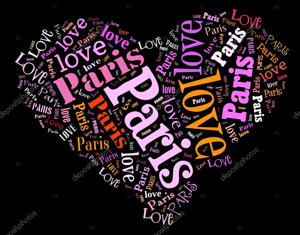 Wordcloud: isolated love heart of city on black background  Stock Photo #15640663