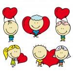 Set of doodle happy children with love valentine hearts — Stock Vector #19159267
