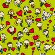 Doodle seamless background pattern of childrenwith hearts of love valentine day - Stock Vector