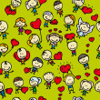 Stock Vector: Doodle seamless background pattern of childrenwith hearts of love valentine day